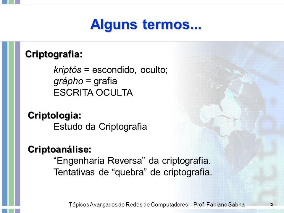 Tópicos Avançados de Redes de Computadores - Prof. Fabiano Sabha 5 Criptografia: kriptós = escondido, oculto; grápho = grafia ESCRITA OCULTA Criptolog