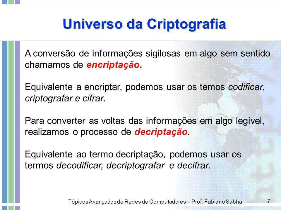 Tópicos Avançados de Redes de Computadores - Prof. Fabiano Sabha 7 A conversão de informações sigilosas em algo sem sentido chamamos de encriptação. E