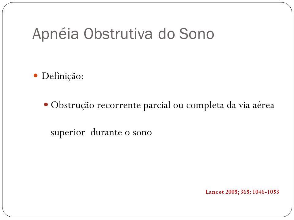 Apnéia Obstrutiva do Sono Definição: Obstrução recorrente parcial ou completa da via aérea superior durante o sono Lancet 2005; 365: 1046-1053