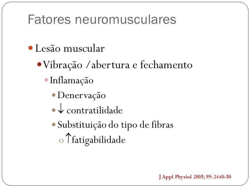 Lesão muscular Vibração /abertura e fechamento Inflamação Denervação  contratilidade Substituição do tipo de fibras o  fatigabilidade Fatores neurom