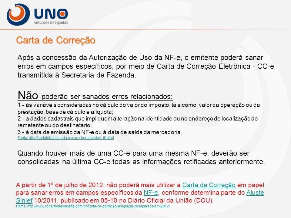 Carta de Correção Após a concessão da Autorização de Uso da NF-e, o emitente poderá sanar erros em campos específicos, por meio de Carta de Correção E