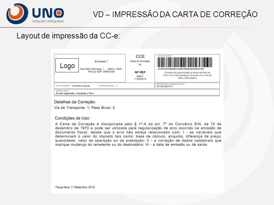 VD – IMPRESSÃO DA CARTA DE CORREÇÃO E-mail para o Cliente: