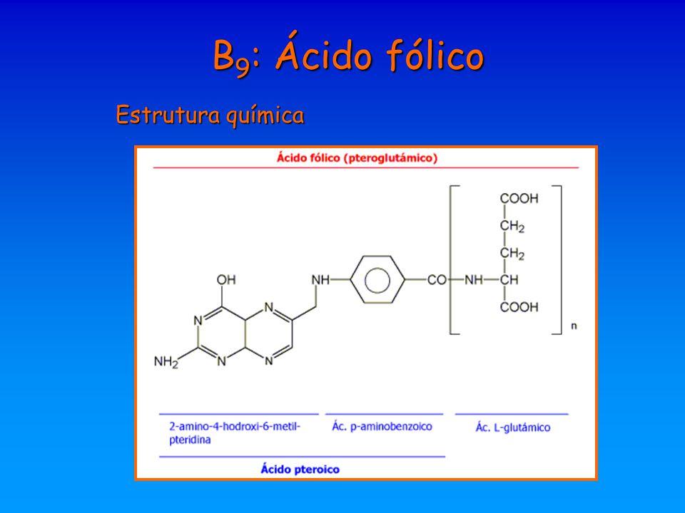 B 9 : Ácido fólico Estrutura química
