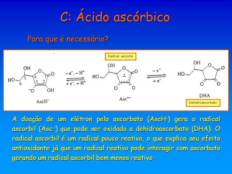 Para que é necessário? Radical ascorbil Dehidroascorbato A doação de um elétron pelo ascorbato (AscH - ) gera o radical ascorbil (Asc.- ) que pode ser
