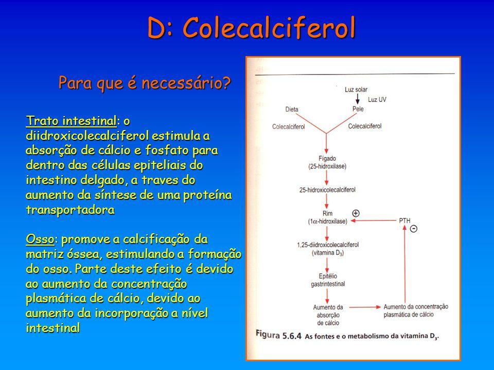 Para que é necessário? Trato intestinal: o diidroxicolecalciferol estimula a absorção de cálcio e fosfato para dentro das células epiteliais do intest
