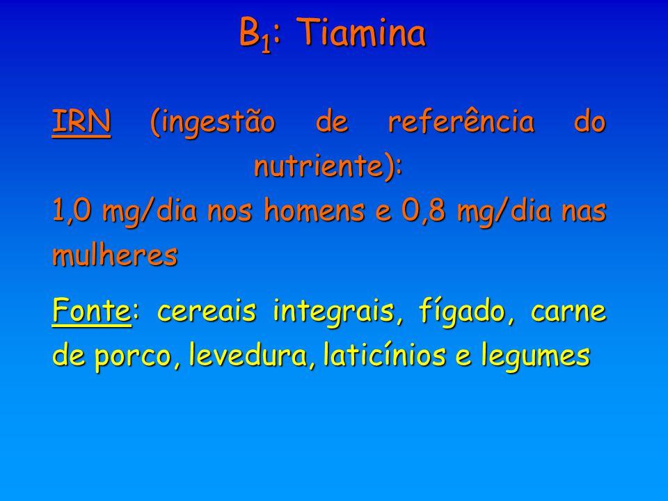 B 1 : Tiamina IRN (ingestão de referência do nutriente): 1,0 mg/dia nos homens e 0,8 mg/dia nas mulheres Fonte: cereais integrais, fígado, carne de po