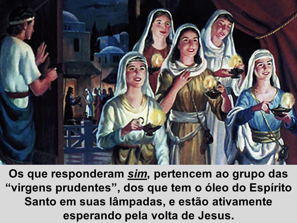 """Os que responderam sim, pertencem ao grupo das """"virgens prudentes"""", dos que tem o óleo do Espírito Santo em suas lâmpadas, e estão ativamente esperand"""