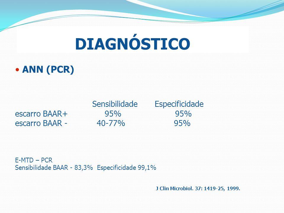 DIAGNÓSTICO ANN (PCR) Sensibilidade Especificidade escarro BAAR+ 95% 95% escarro BAAR - 40-77% 95% E-MTD – PCR Sensibilidade BAAR - 83,3% Especificida