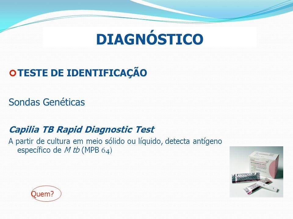 DIAGNÓSTICO TESTE DE IDENTIFICAÇÃO Sondas Genéticas Capilia TB Rapid Diagnostic Test A partir de cultura em meio sólido ou líquido, detecta antígeno e
