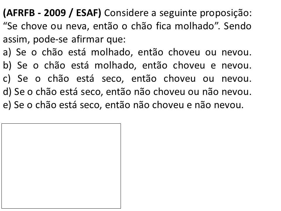 """(AFRFB - 2009 / ESAF) Considere a seguinte proposição: """"Se chove ou neva, então o chão fica molhado"""". Sendo assim, pode-se afirmar que: a) Se o chão e"""