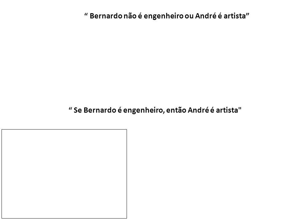 """"""" Se Bernardo é engenheiro, então André é artista"""