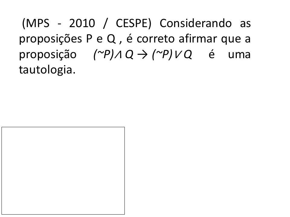 (MPS - 2010 / CESPE) Considerando as proposições P e Q, é correto afirmar que a proposição (~P) ∧ Q → (~P) ∨ Q é uma tautologia.