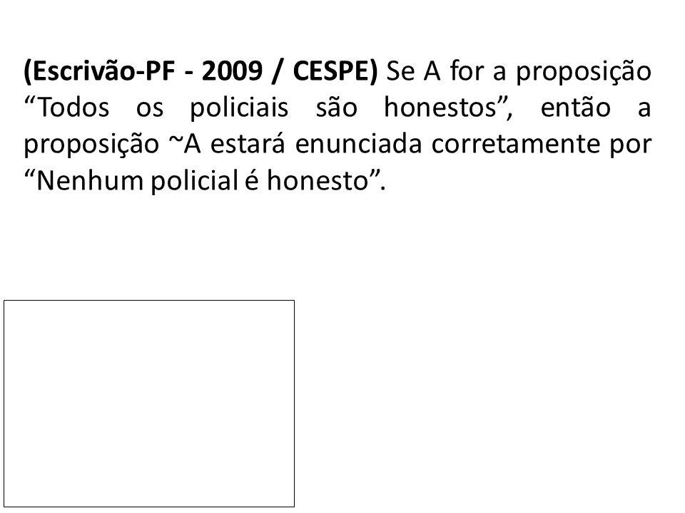 """(Escrivão-PF - 2009 / CESPE) Se A for a proposição """"Todos os policiais são honestos"""", então a proposição ~A estará enunciada corretamente por """"Nenhum"""
