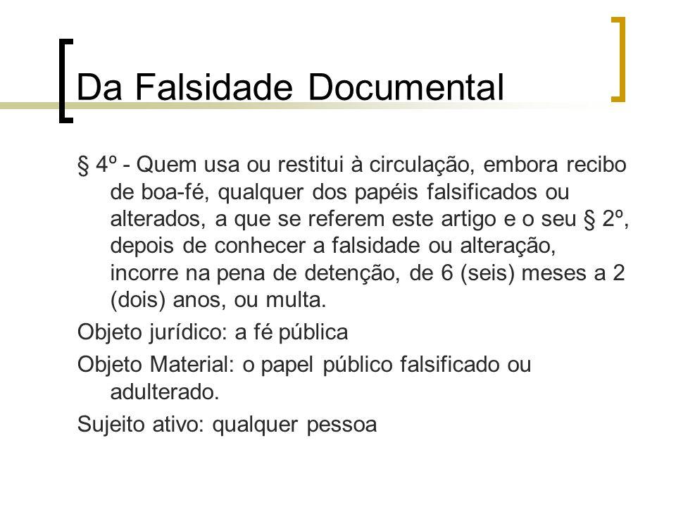 Da Falsidade Documental § 4º - Quem usa ou restitui à circulação, embora recibo de boa-fé, qualquer dos papéis falsificados ou alterados, a que se ref