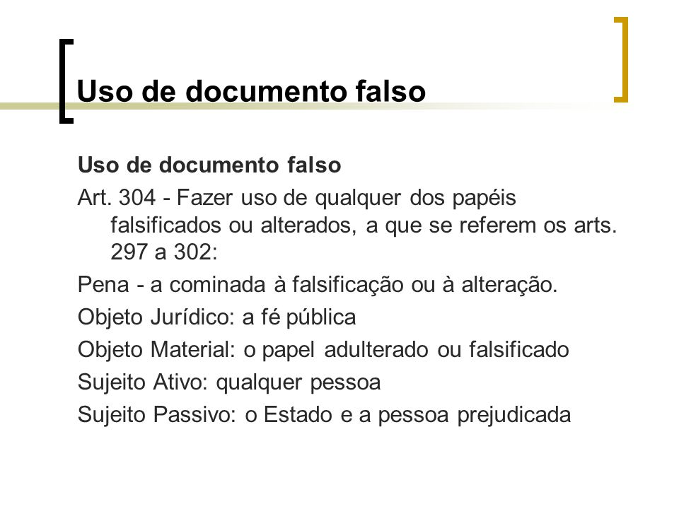 Uso de documento falso Art.