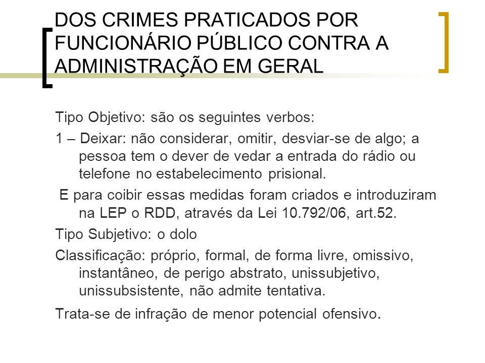 DOS CRIMES PRATICADOS POR FUNCIONÁRIO PÚBLICO CONTRA A ADMINISTRAÇÃO EM GERAL Tipo Objetivo: são os seguintes verbos: 1 – Deixar: não considerar, omit