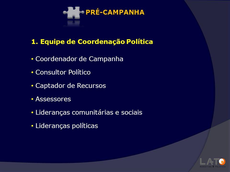 1. Equipe de Coordenação Política Coordenador de Campanha Consultor Político Captador de Recursos Assessores Lideranças comunitárias e sociais Lideran