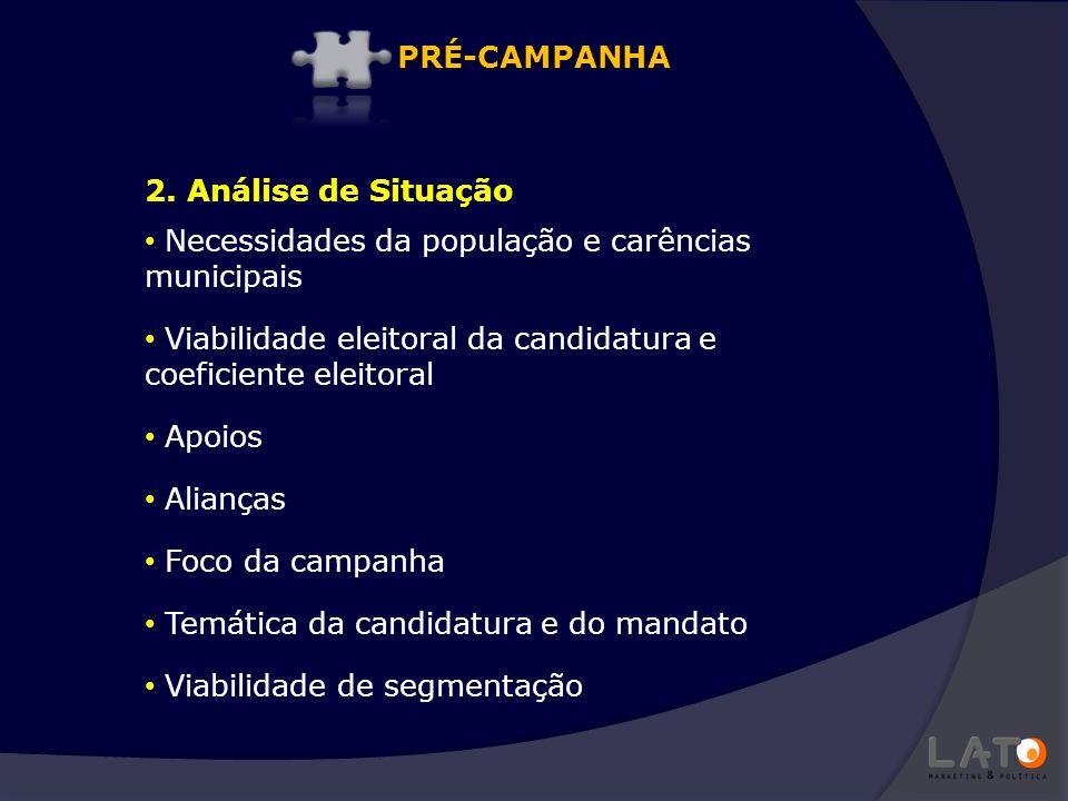 2. Análise de Situação Necessidades da população e carências municipais Viabilidade eleitoral da candidatura e coeficiente eleitoral Apoios Alianças F