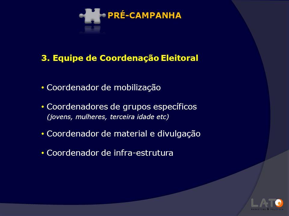 3. Equipe de Coordenação Eleitoral Coordenador de mobilização Coordenadores de grupos específicos (jovens, mulheres, terceira idade etc) Coordenador d