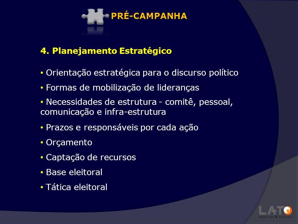 Orientação estratégica para o discurso político Formas de mobilização de lideranças Necessidades de estrutura - comitê, pessoal, comunicação e infra-e