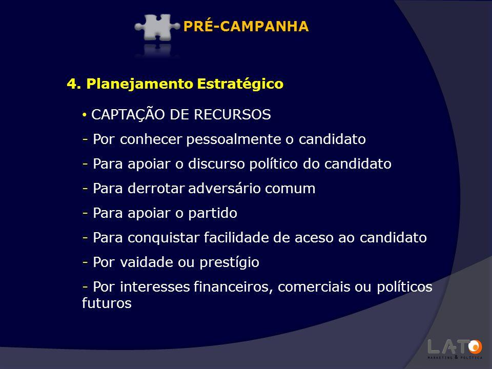 CAPTAÇÃO DE RECURSOS - Por conhecer pessoalmente o candidato - Para apoiar o discurso político do candidato - Para derrotar adversário comum - Para ap