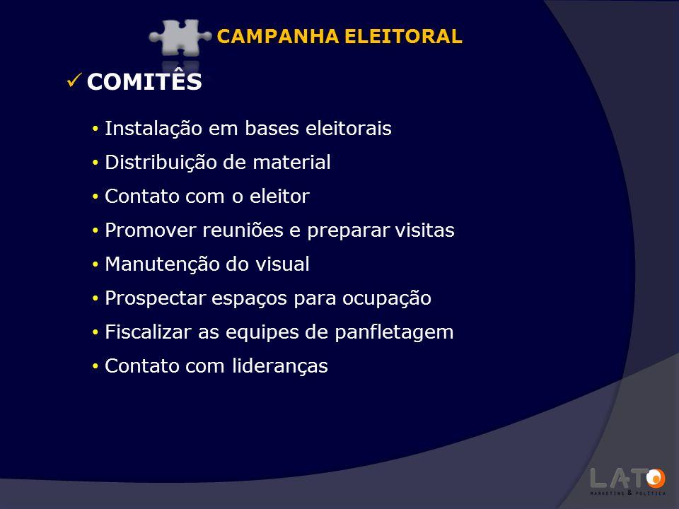 COMITÊS Instalação em bases eleitorais Distribuição de material Contato com o eleitor Promover reuniões e preparar visitas Manutenção do visual Prospe