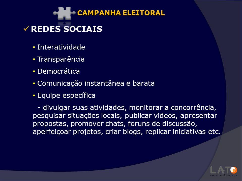 REDES SOCIAIS Interatividade Transparência Democrática Comunicação instantânea e barata Equipe específica - divulgar suas atividades, monitorar a conc