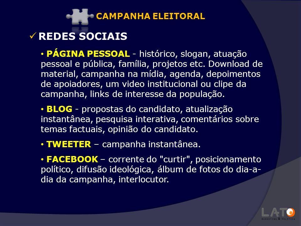 REDES SOCIAIS PÁGINA PESSOAL - histórico, slogan, atuação pessoal e pública, família, projetos etc. Download de material, campanha na mídia, agenda, d