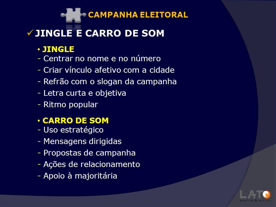 JINGLE E CARRO DE SOM JINGLE - Centrar no nome e no número - Criar vínculo afetivo com a cidade - Refrão com o slogan da campanha - Letra curta e obje