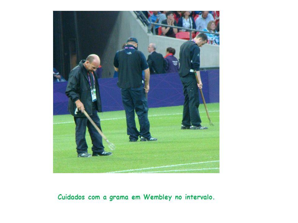 Cuidados com a grama em Wembley no intervalo.