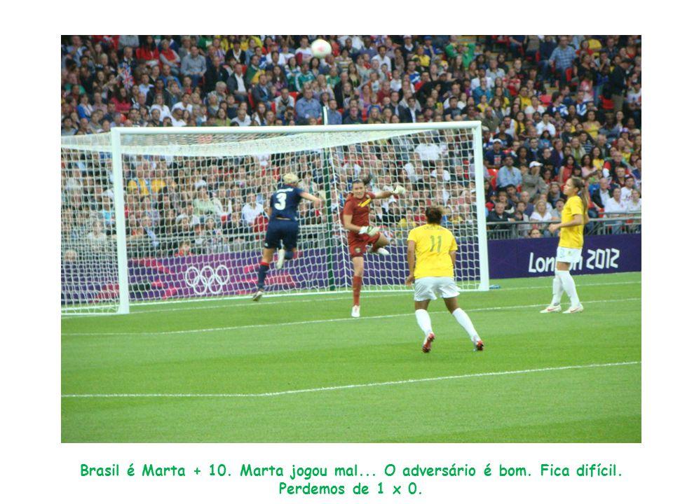 Brasil é Marta + 10. Marta jogou mal... O adversário é bom. Fica difícil. Perdemos de 1 x 0.