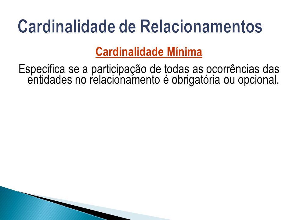 Cardinalidade Mínima Especifica se a participação de todas as ocorrências das entidades no relacionamento é obrigatória ou opcional.