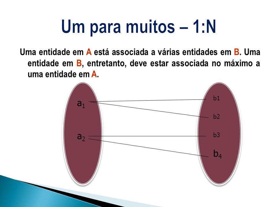 Uma entidade em A está associada a várias entidades em B. Uma entidade em B, entretanto, deve estar associada no máximo a uma entidade em A. a1a2a1a2
