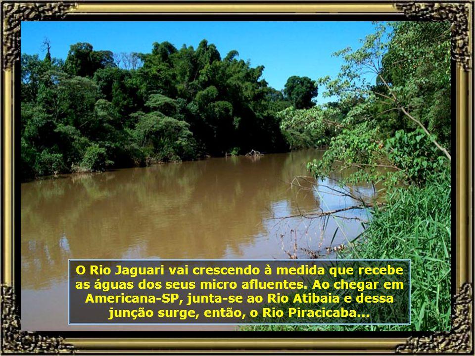 O Rio Jaguari vai crescendo à medida que recebe as águas dos seus micro afluentes.