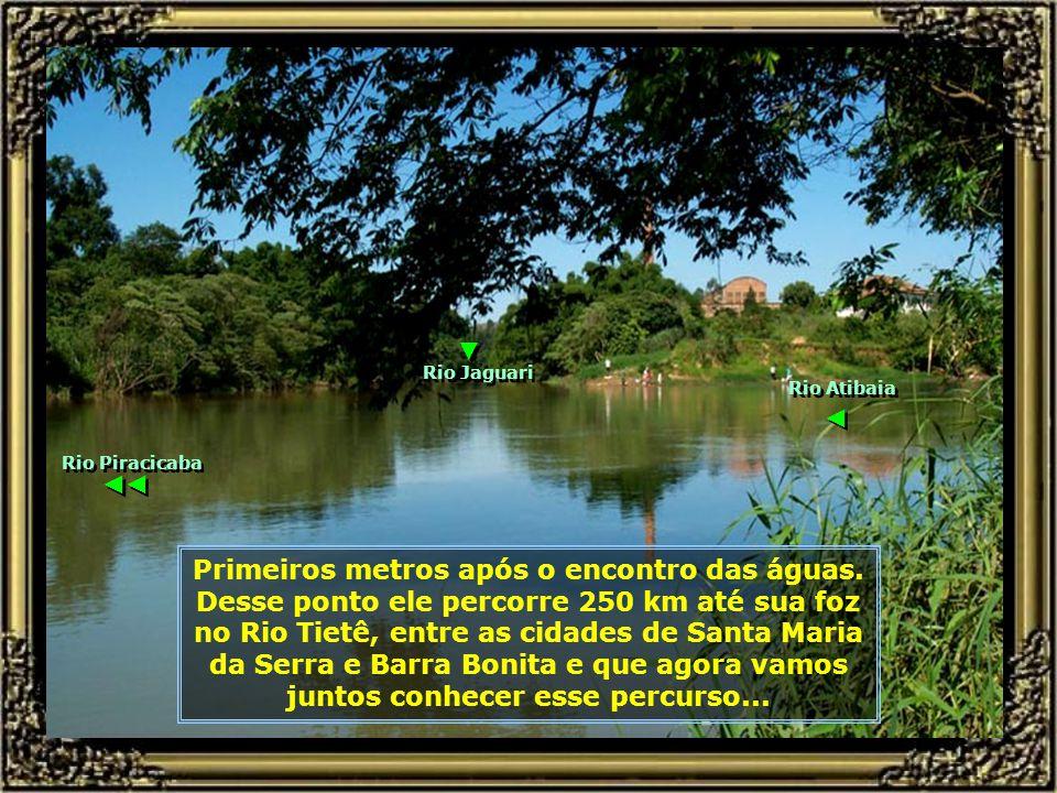 Encontro das águas dos Rios Jaguari e Atibaia. Aqui começa o leito, propriamente dito, do Rio Piracicaba... Rio Jaguari Rio Atibaia ← ← ← ←