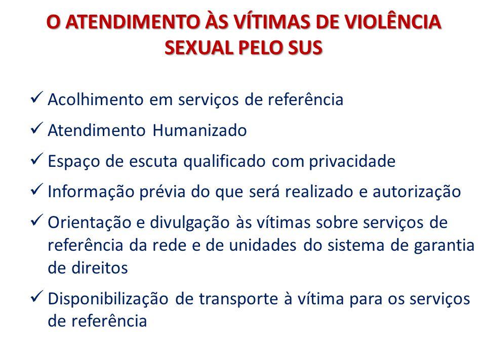 O ATENDIMENTO ÀS VÍTIMAS DE VIOLÊNCIA SEXUAL PELO SUS Acolhimento em serviços de referência Atendimento Humanizado Espaço de escuta qualificado com pr