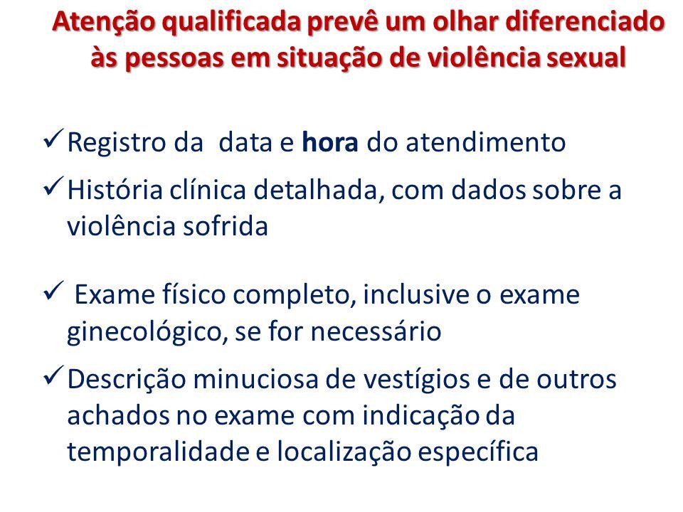Atenção qualificada prevê um olhar diferenciado às pessoas em situação de violência sexual Registro da data e hora do atendimento História clínica det