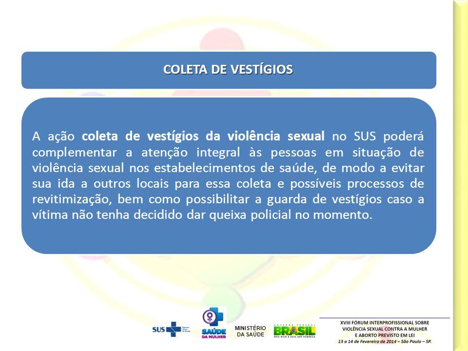 MINISTÉRIO DA SAÚDE Cal/Jun/12 COLETA DE VESTÍGIOS A ação coleta de vestígios da violência sexual no SUS poderá complementar a atenção integral às pes