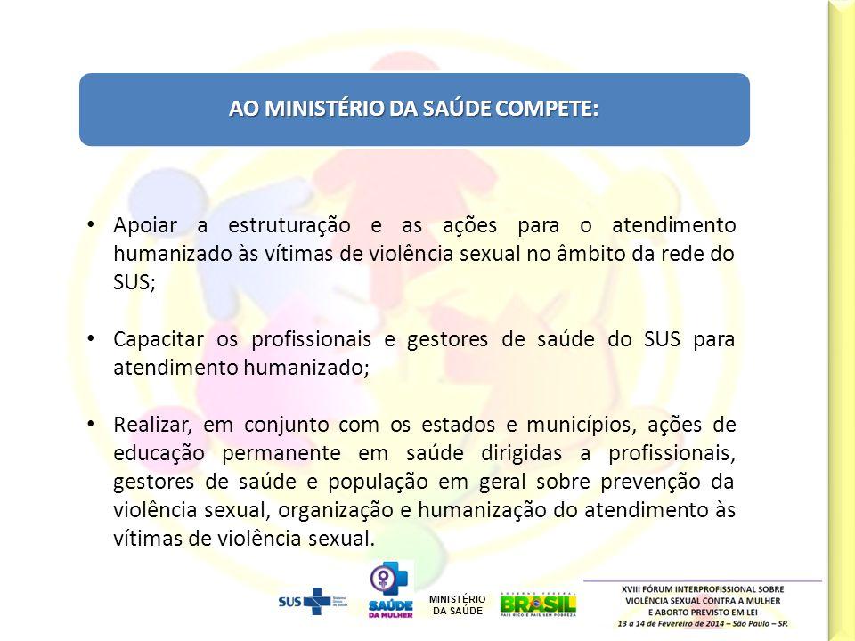 MINISTÉRIO DA SAÚDE Cal/Jun/12 AO MINISTÉRIO DA SAÚDE COMPETE: Apoiar a estruturação e as ações para o atendimento humanizado às vítimas de violência