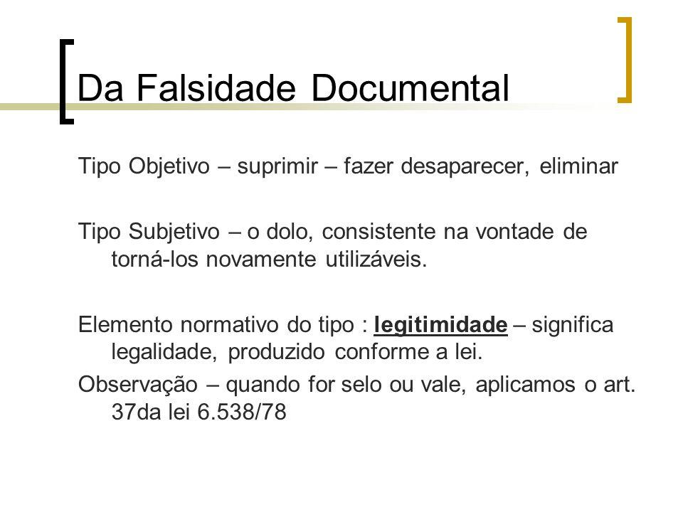 Da Falsidade Documental Tipo Objetivo – suprimir – fazer desaparecer, eliminar Tipo Subjetivo – o dolo, consistente na vontade de torná-los novamente