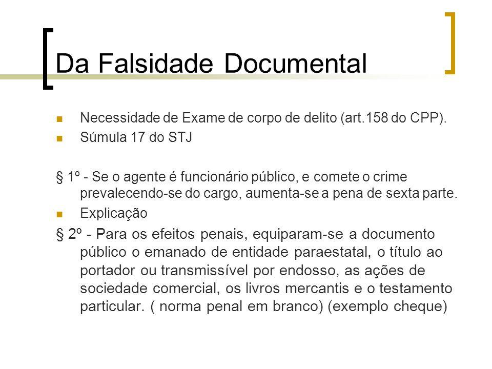 Da Falsidade Documental Necessidade de Exame de corpo de delito (art.158 do CPP). Súmula 17 do STJ § 1º - Se o agente é funcionário público, e comete