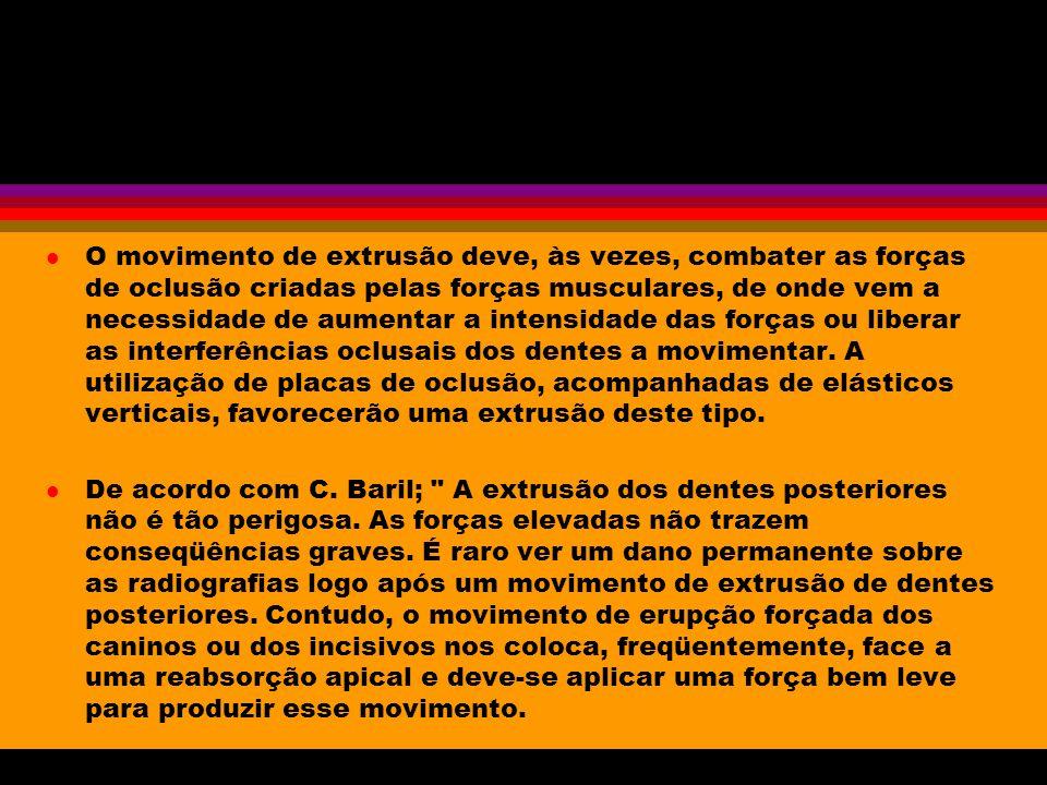 Movimento de Extrusão l É o movimento mais fácil de se obter; ele desloca o dente no sentido de sua erupção.