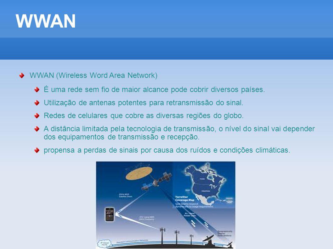 WWAN WWAN (Wireless Word Area Network) É uma rede sem fio de maior alcance pode cobrir diversos países. Utilização de antenas potentes para retransmis