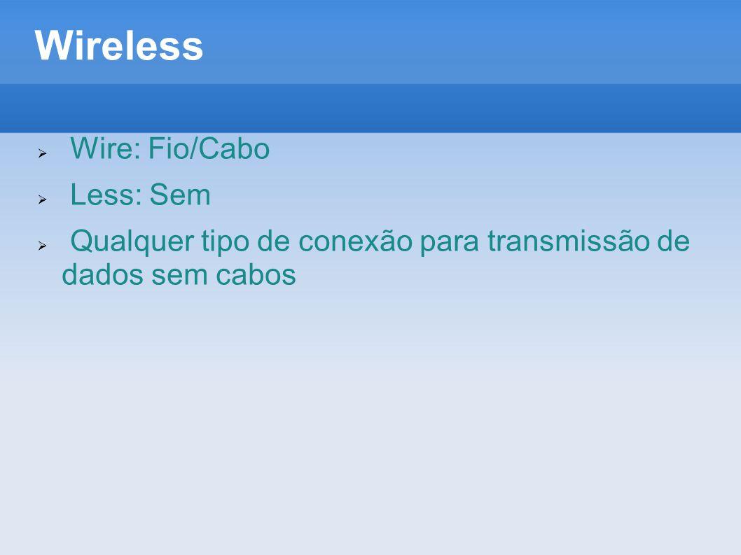 Wireless  Wire: Fio/Cabo  Less: Sem  Qualquer tipo de conexão para transmissão de dados sem cabos