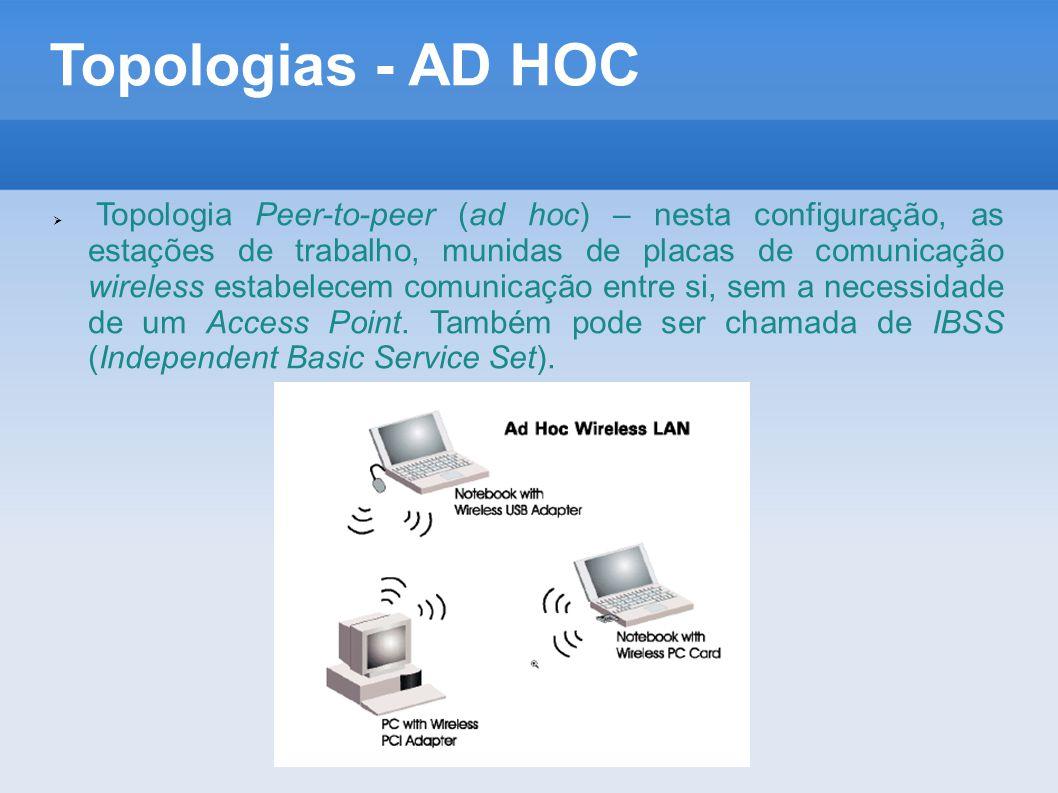 Topologias - AD HOC  Topologia Peer-to-peer (ad hoc) – nesta configuração, as estações de trabalho, munidas de placas de comunicação wireless estabel