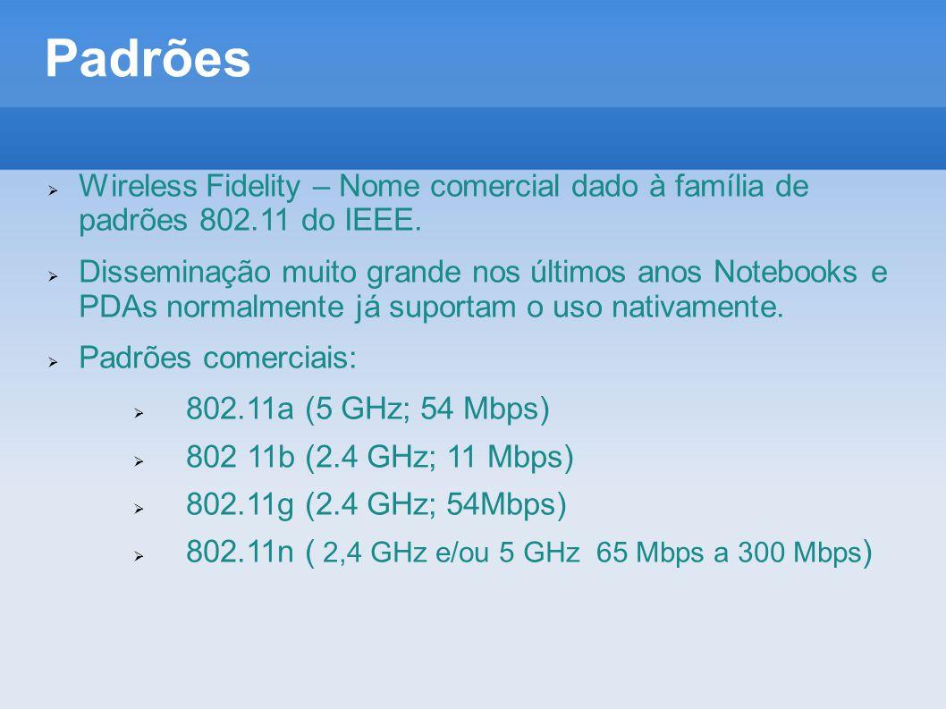 Padrões  Wireless Fidelity – Nome comercial dado à família de padrões 802.11 do IEEE.  Disseminação muito grande nos últimos anos Notebooks e PDAs n