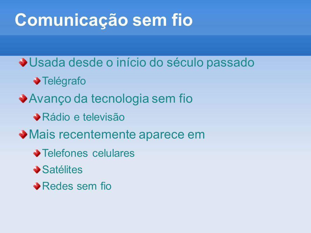 Comunicação sem fio Usada desde o início do século passado Telégrafo Avanço da tecnologia sem fio Rádio e televisão Mais recentemente aparece em Telef