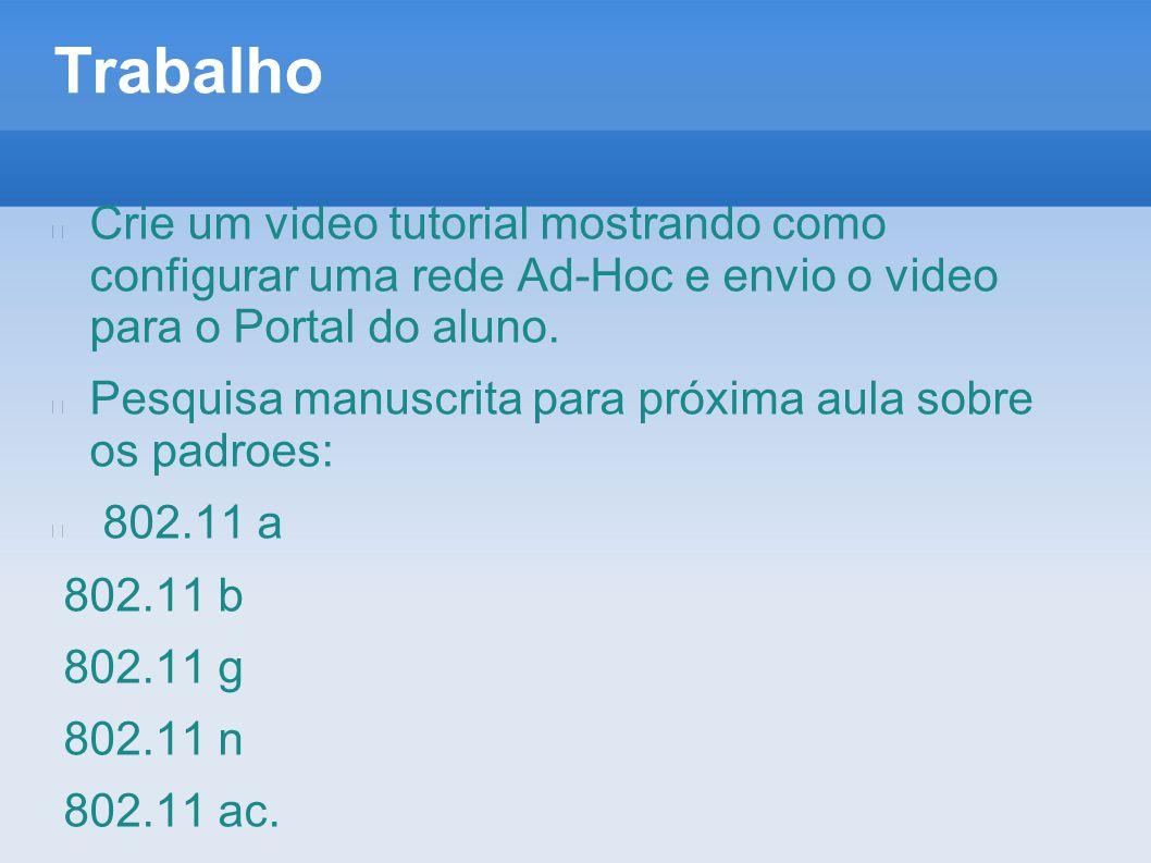 Trabalho Crie um video tutorial mostrando como configurar uma rede Ad-Hoc e envio o video para o Portal do aluno. Pesquisa manuscrita para próxima aul