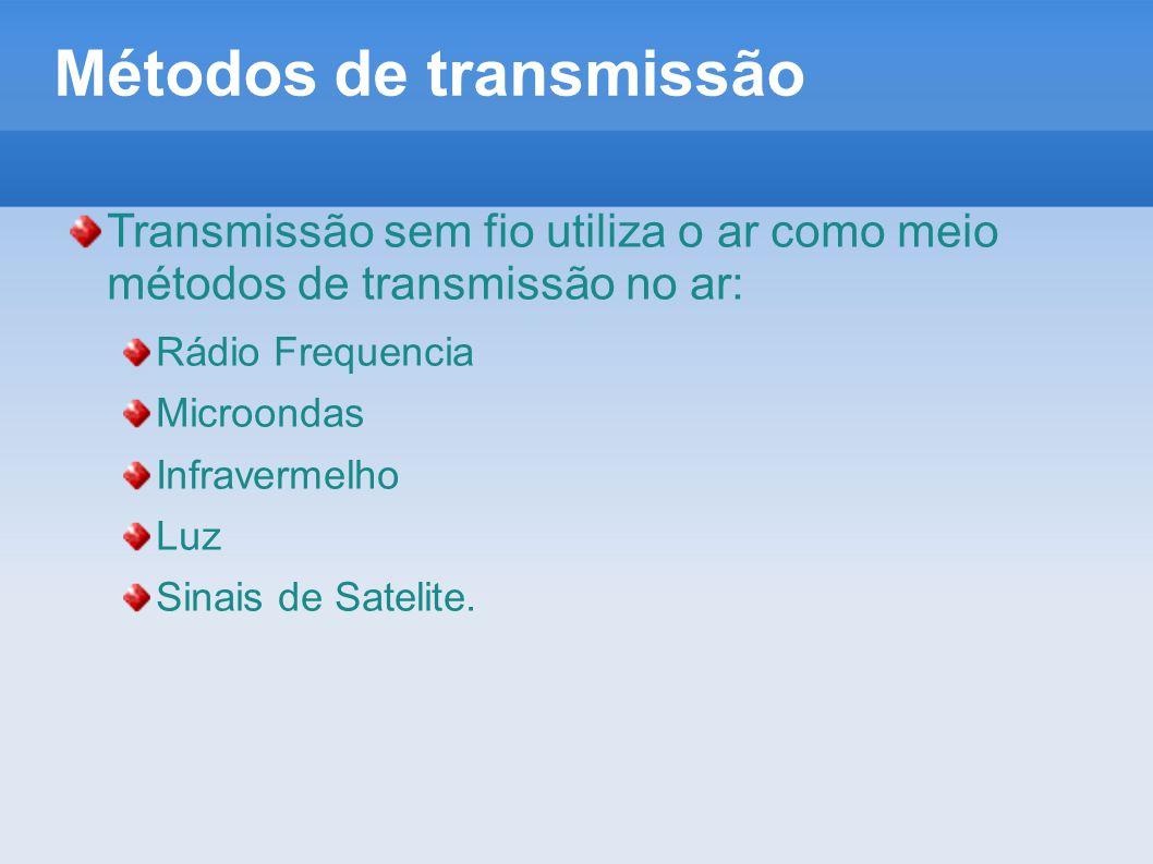 Métodos de transmissão Transmissão sem fio utiliza o ar como meio métodos de transmissão no ar: Rádio Frequencia Microondas Infravermelho Luz Sinais d