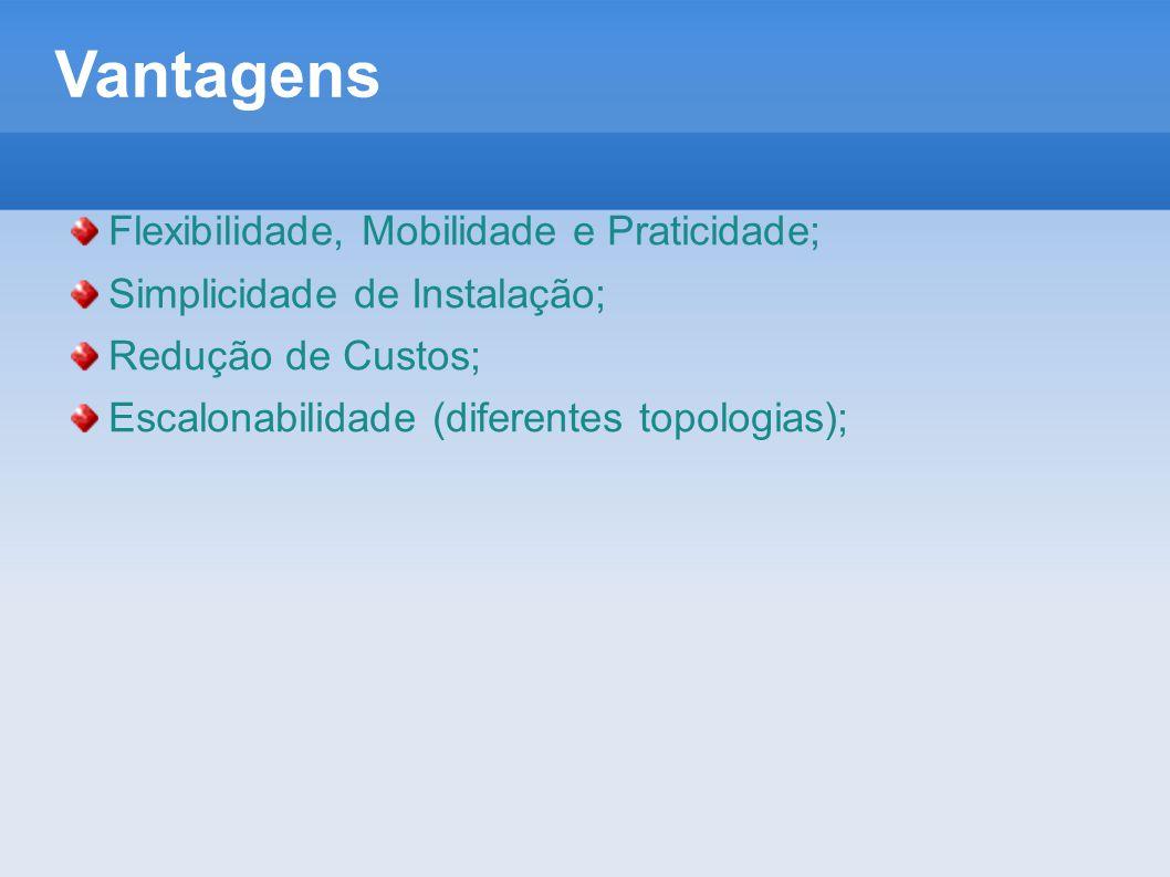 Topologias - AD HOC  Topologia Peer-to-peer (ad hoc) – nesta configuração, as estações de trabalho, munidas de placas de comunicação wireless estabelecem comunicação entre si, sem a necessidade de um Access Point.